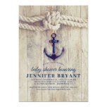 Navy Blue Anchor Rustic Nautical Baby Shower Invitation