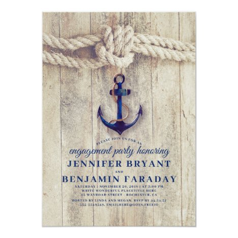 Navy Blue Anchor Rustic Nautical Engagement Party Invitation