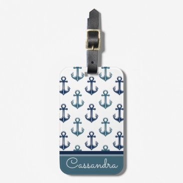 Navy Blue Anchor Sailing Two-Tone | Personalized Bag Tag