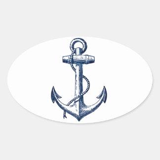 Navy Blue Anchor Oval Sticker
