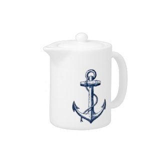 Navy Blue Anchor Teapot