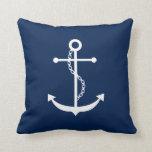 Navy Blue Anchor Throw Pillows
