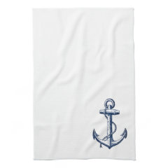 Navy Blue Anchor Towels