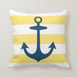 Navy Blue Anchor with Nautical Stripes Pillow