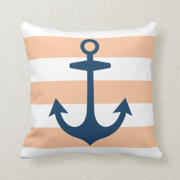 Beach Themed Navy Blue Anchor with Peach Nautical Stripes Throw Pillow