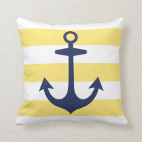 Navy Blue Anchor with Yellow Nautical Stripes Throw Pillow