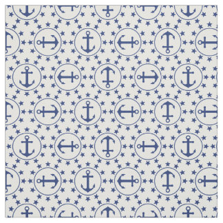 Navy Blue Anchors and Stars Nautical Pattern Fabric