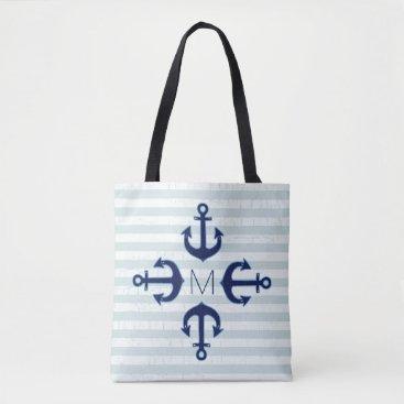 Beach Themed navy blue anchors nautical tote bag