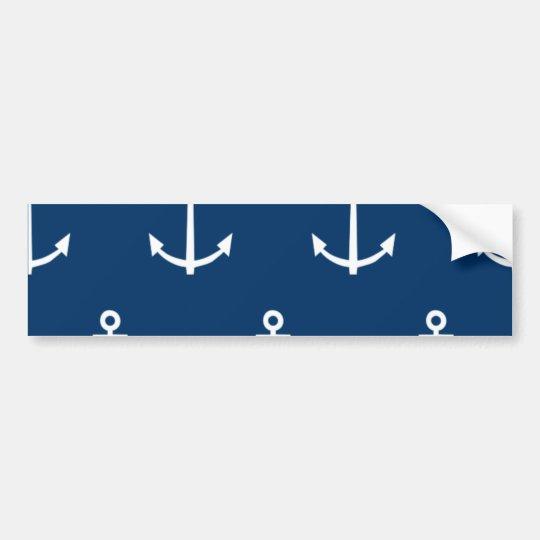 Navy Blue Anchors Pattern 1 Bumper Sticker
