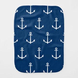 Navy Blue Anchors Pattern 1 Burp Cloth