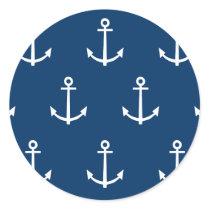 Navy Blue Anchors Pattern 1 Classic Round Sticker