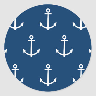 Navy Blue Anchors Pattern 1 Classic Round Sticker