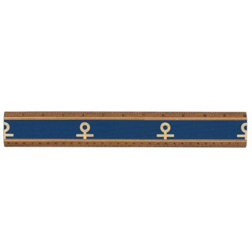Navy Blue Anchors Pattern 1 Wood Ruler