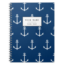 Navy Blue Anchors Pattern 1 Notebook