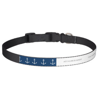 Navy Blue Anchors Pattern 1 Pet Collar