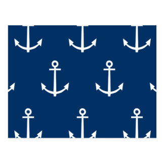 Navy Blue Anchors Pattern 1 Post Cards