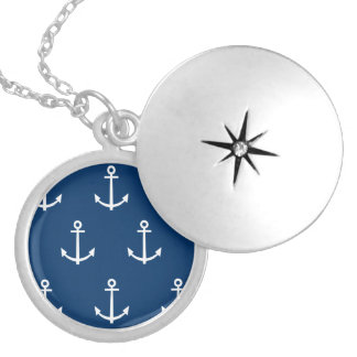Navy Blue Anchors Pattern 1 Silver Plated Necklace