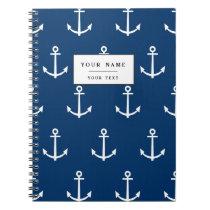 Navy Blue Anchors Pattern 1 Spiral Notebook