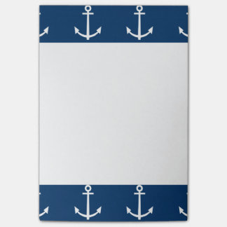 Navy Blue Anchors Pattern 1 Post-it® Notes