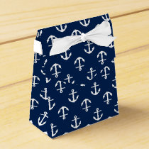 Navy Blue Anchors Pattern Favor Box