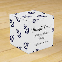 Navy Blue Anchors White Background Pattern Favor Box