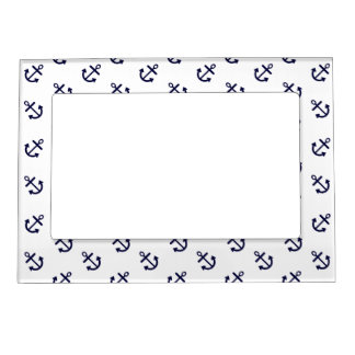 Navy Blue Anchors White Background Pattern Photo Frame Magnet