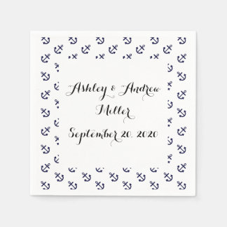 Navy Blue Anchors White Background Pattern Disposable Napkins