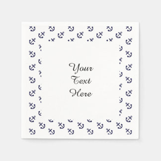 Navy Blue Anchors White Background Pattern Paper Napkins