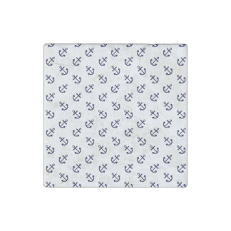 Navy Blue Anchors White Background Pattern Stone Magnet