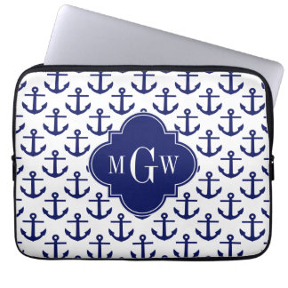 Navy Blue Anchors Wht BG, Navy 3 Initial Monogram Computer Sleeve