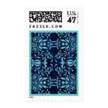 Navy Blue and Aqua Blue Damask Wedding Stamp