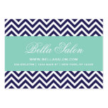 Navy Blue and Aqua Modern Chevron Stripes Large Business Cards (Pack Of 100)