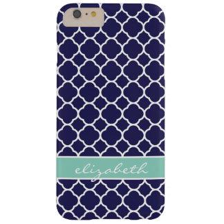 Navy Blue and Aqua Quatrefoil Custom Monogram Barely There iPhone 6 Plus Case