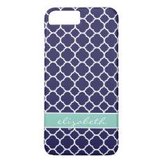 Navy Blue And Aqua Quatrefoil Custom Monogram Iphone 7 Plus Case at Zazzle