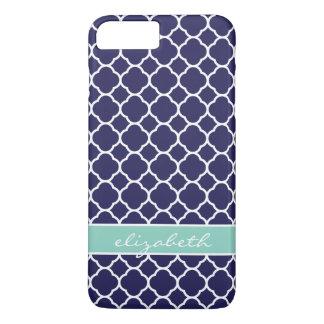 Navy Blue and Aqua Quatrefoil Custom Monogram iPhone 7 Plus Case