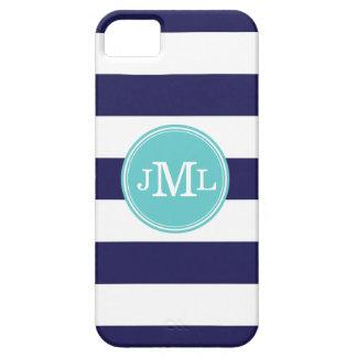 Navy Blue and Aqua Wide Stripe Monogram iPhone SE/5/5s Case