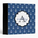 Navy Blue and Black Anchor Monogram Binder