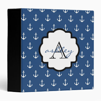 Navy Blue and Black Anchor Monogram Binder