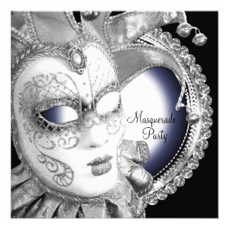 Navy Blue and Black Masquerade Party Invitations
