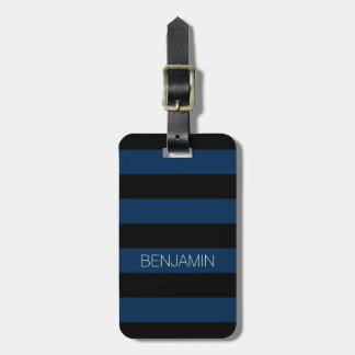 Navy Blue and Black Rugby Stripes with Custom Name Bag Tag