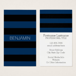 Navy Blue and Black Rugby Stripes with Custom Name Business Card