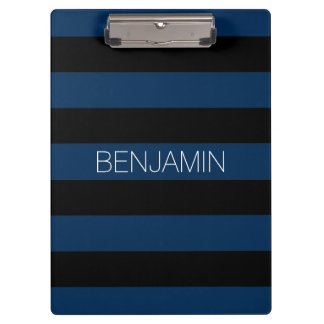 Navy Blue and Black Rugby Stripes with Custom Name Clipboard