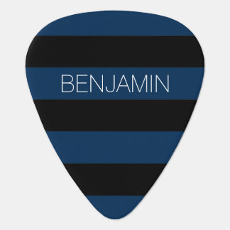Navy Blue and Black Rugby Stripes with Custom Name Pick
