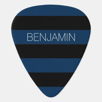 Navy Blue And Black Rugby Stripes With Custom Name Guitar Pick by MarshBaby at Zazzle