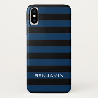Navy Blue and Black Rugby Stripes with Custom Name iPhone X Case