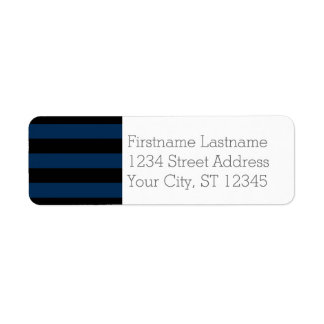 Navy Blue and Black Rugby Stripes with Custom Name Custom Return Address Label