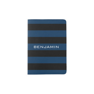 Navy Blue and Black Rugby Stripes with Custom Name Passport Holder