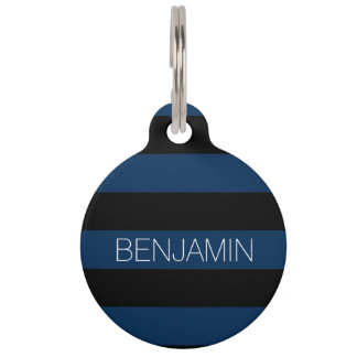 Navy Blue and Black Rugby Stripes with Custom Name Pet ID Tag