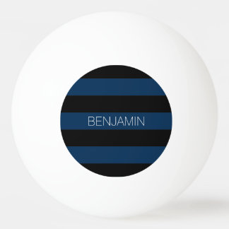 Navy Blue and Black Rugby Stripes with Custom Name Ping-Pong Ball