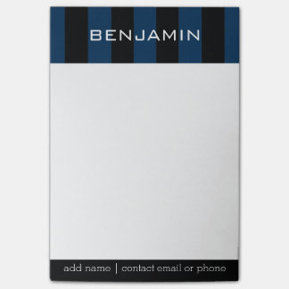 Navy Blue and Black Rugby Stripes with Custom Name Post-it® Notes